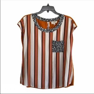 Anthropologie Floral Striped Blouse SZ S